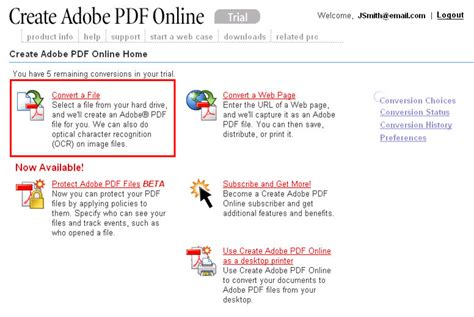 creating a pdf file using the adobe website