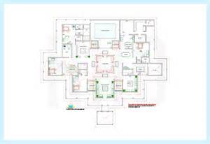 ground floor plan drawing luxury home with swimming pool inside