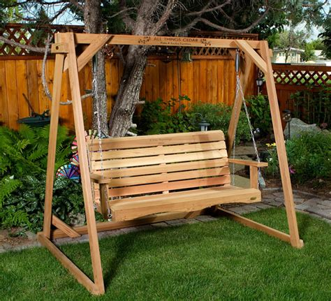 lawn swing porch swings by all things cedar adirondack swings