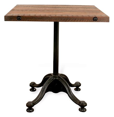 Industrial Bistro Table Pedro Reclaimed Wood Industrial Square Bistro Cafe Dining Table Kathy Kuo Home