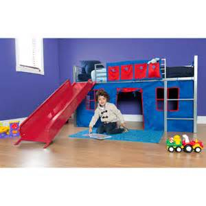 Toddler Boy Bed With Slide Boys Loft Bed With Slide Grey And Walmart