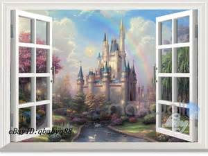 Window Wall Sticker Disney Tinkerbell Fairy Castle 3d Window Wall Decals Girl
