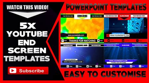 Free End Screen Templates Youtube Powerpoint Video Templates Youtube End Screen Template