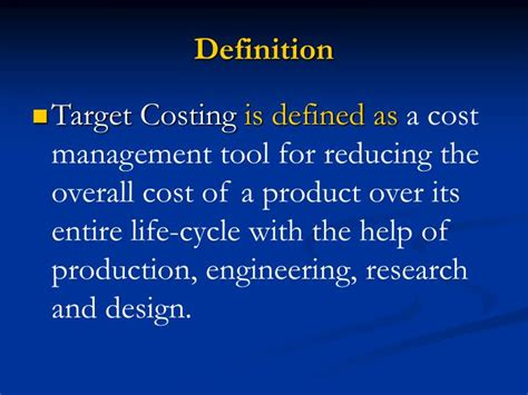 definition design to cost ppt target costing powerpoint presentation id 400574