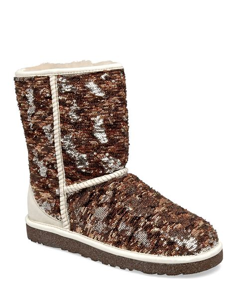 ugg sparkle boots ugg classic sparkle boots in brown sequins lyst