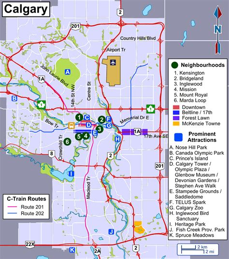calgary map the transit routes and attractions of calgary