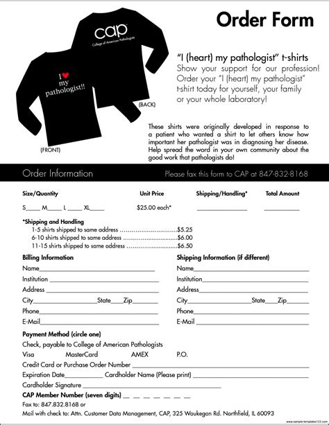 T Shirt Order Form Template Cyberuse T Shirt Fundraiser Order Form Template