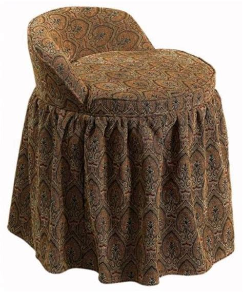 vanity stool with skirt delmar swivel vanity stool w skirt lowback tapesty
