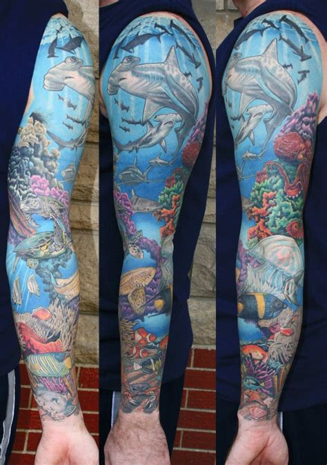 ocean tattoo sleeve seabed tattoos i want and chang e 3