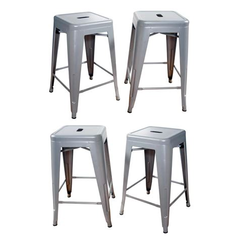 24 Bar Stools Set Of 4 by Loft Style 24 In Stackable Metal Bar Stool In Silver Set