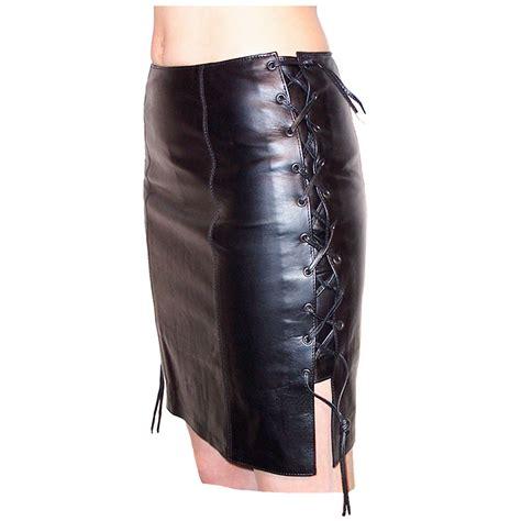 Ladies Tie Side Leather Skirt by Bikers Paradise