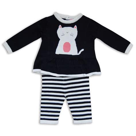 Cat Navy White 2pc baby navy white cat knitted jumper soft stripey set ebay
