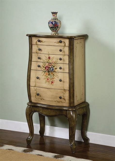 Painted Jewelry Armoire by Powell Garden Antique White And Olive Greens