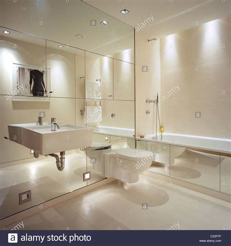 Mirrored Bathroom Wall Mirrored Wall In Contemporary Bathroom With Interior Design By Stock Photo Royalty Free Image