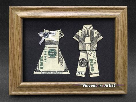 Money Origami Wedding - beautiful groom money gift made with three 100