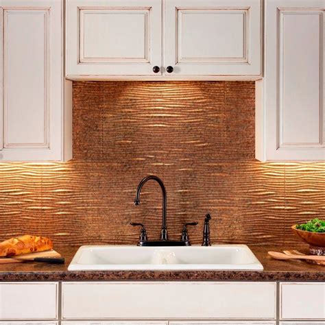 fasade kitchen backsplash panels fasade 24 in x 18 in waves pvc decorative tile backsplash in cracked copper b65 19 the home