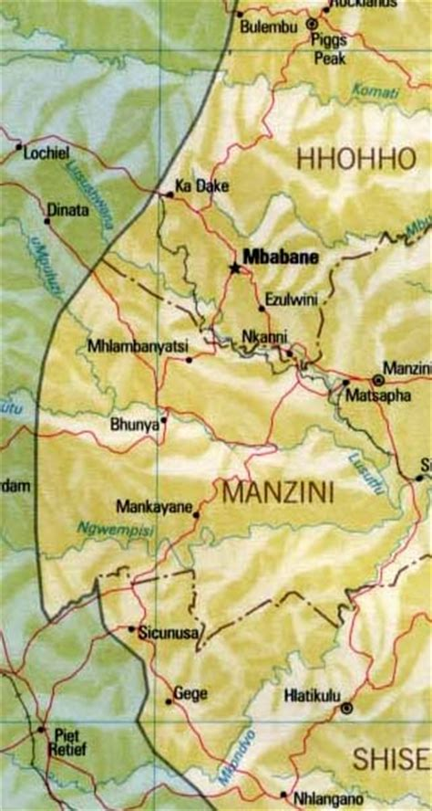 swaziland maps including outline  topographical maps