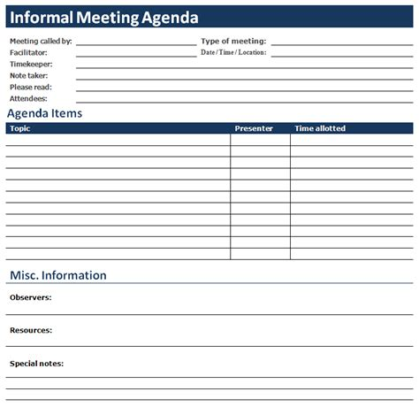 ms word informal meeting agenda office templates online