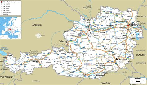 austria map with cities maps of austria detailed map of austria in