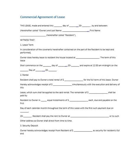 business lease agreement template simple agreement commercial lease agreement template 16 26 free commercial lease agreement