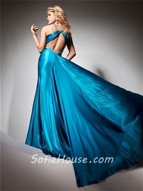 Blue Silk Backless Dress v neck backless blue silk beading glitter prom