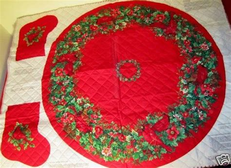 fabric panel pre quilted christmas tree skirt stocking
