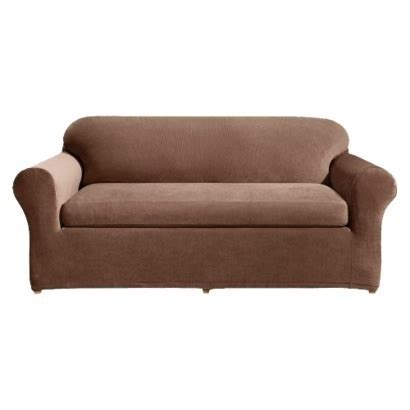 3 piece slipcover for sofa sure fit stretch rib 3 piece sofa slipcover oar brown by
