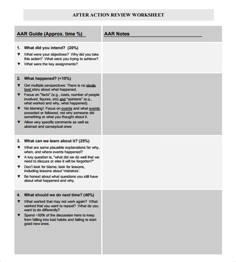 aar format template 8 after review templates for free sle