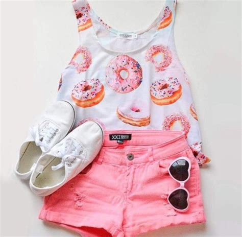 Donut Blouse top shoes sneakers sunglasses fashion shorts summer