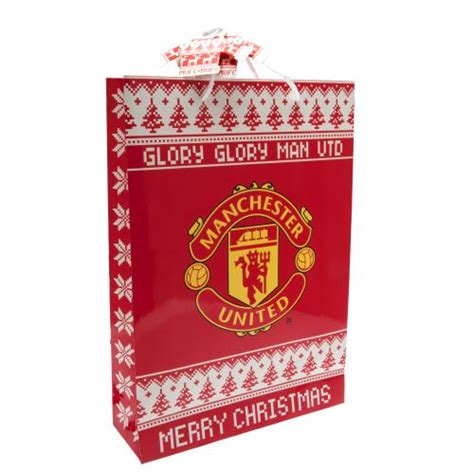 manchester united medium nordic christmas gift bag