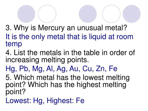 why is mercury a liquid at room temperature ppt physical properties of metals and their uses powerpoint presentation id 3843269
