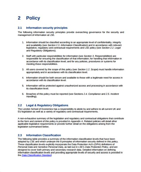 policy template sle data security policy template sle it security policy