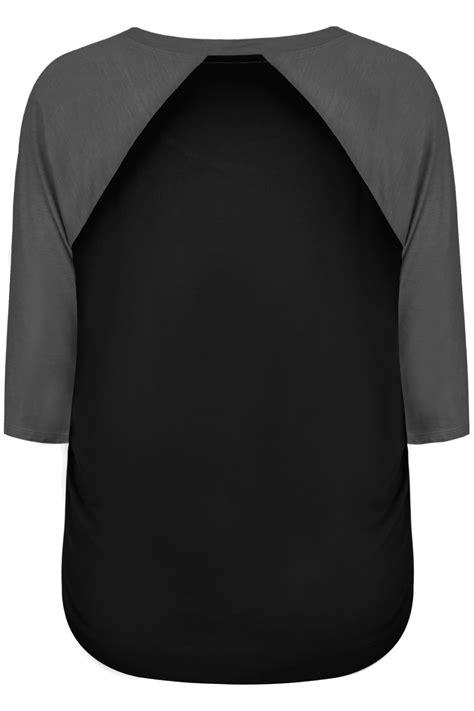 Raglan Black black charcoal 3 4 sleeve t shirt with contrast raglan