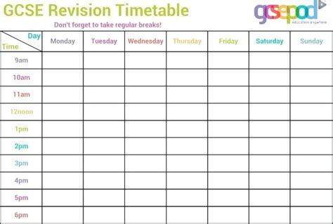 blank revision timetable template timetable in excel blank revision timetable template