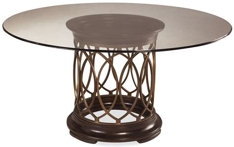 A.R.T. Furniture Inc Intrigue Round Glass Top Dining Table with Upholstered Arm & Side Chairs