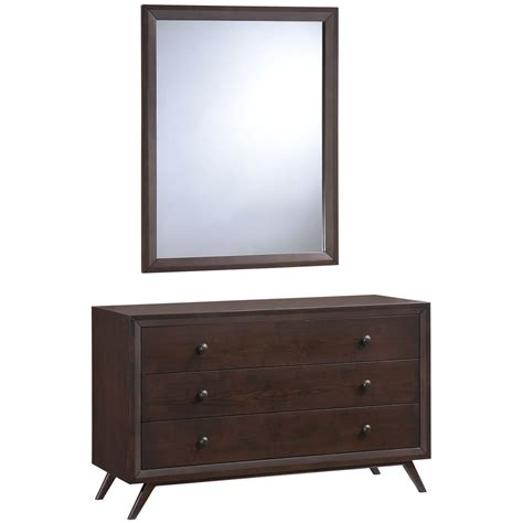 tracy mid century 3 drawer dresser and mirror cappuccino