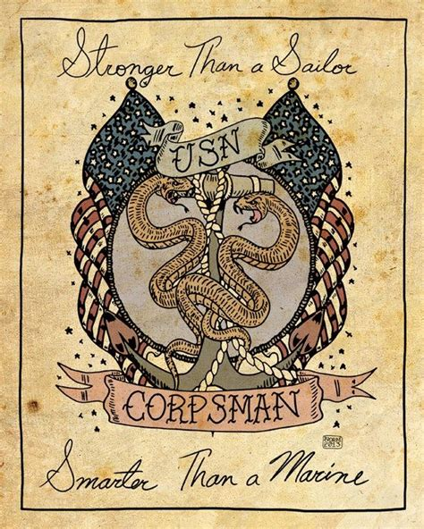 navy corpsman tattoo quot stronger than a sailor smarter than a marine quot navy