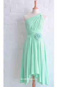 one shoulder mint green sleeveless flower chiffon short