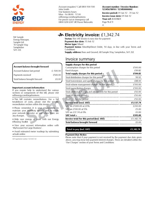 understanding your bill large business customers edf