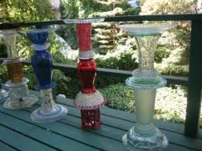 birdbaths and yard art recycled glass sclupture