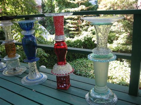 Glass Garden Yard Birdbaths And Yard Recycled Glass Sclupture