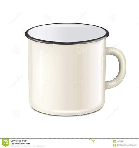 mug design template vector vector realistic enamel metal white mug isolated on white