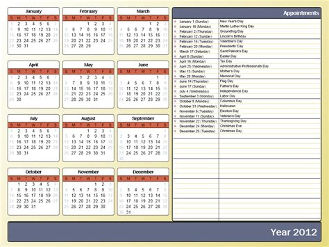 Print Yearly Calendar Outlook | printing a yearly calendar with holidays and birthdays