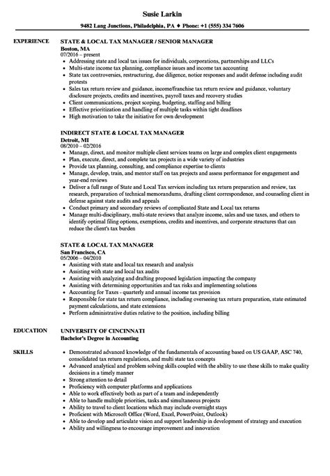 Tax Manager Sle Resume by State Local Tax Manager Resume Sles Velvet
