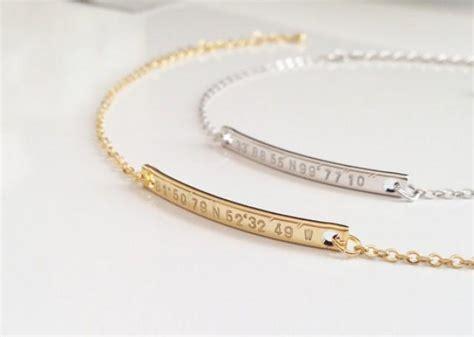dainty gps coordinate bracelet personalized gold