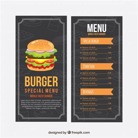 burger menu template burger menu template with orange elements vector free