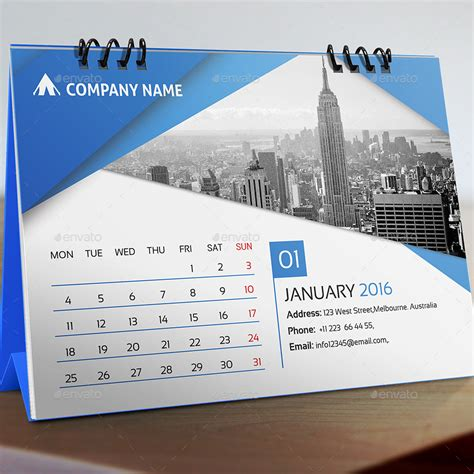 design calendar template desk calendar 2016 by pixelpick graphicriver