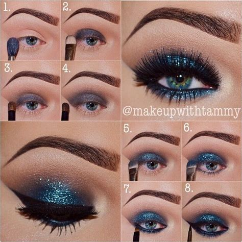eyeshadow tutorial without brushes blue sparkle makeup tutorial amazing eyes makeup