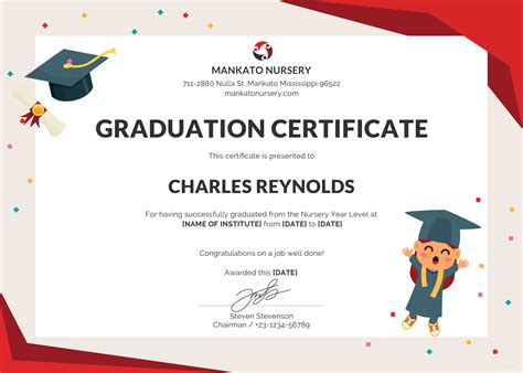 certificate of graduation template free nursery graduation certificate template in psd ms