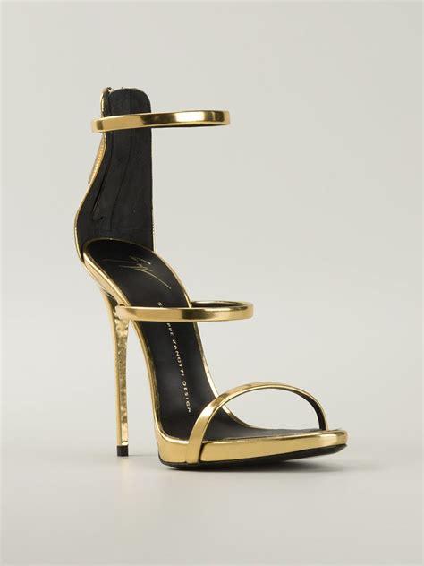 giuseppe zanotti gold sandals giuseppe zanotti strappy sandals in gold metallic lyst